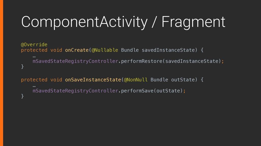ComponentActivity / Fragment @Override protecte...