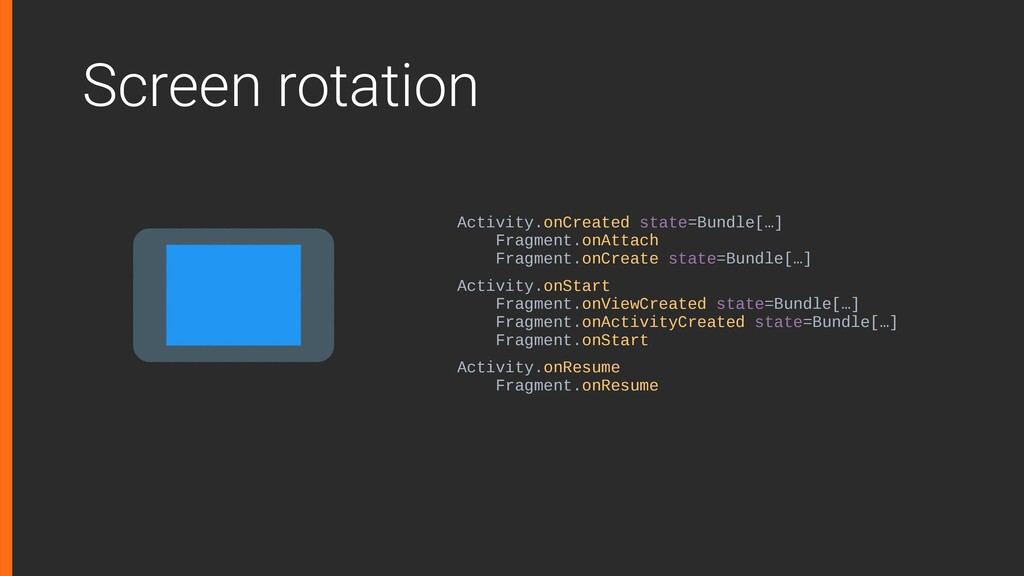 Screen rotation Activity.onCreated state=Bundle...