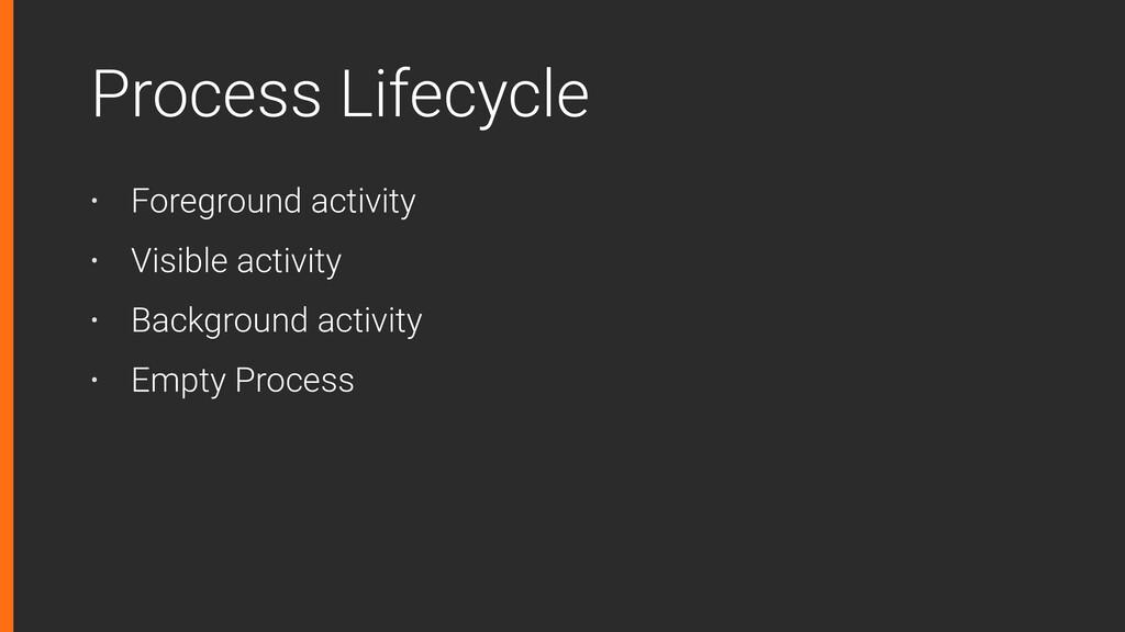Process Lifecycle • Foreground activity • Visib...