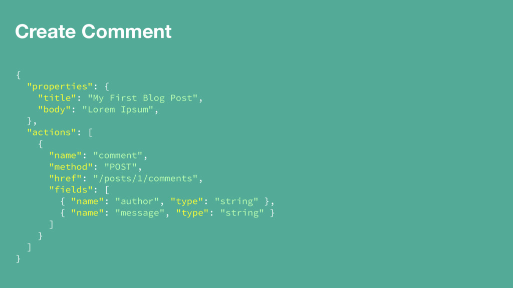 """Create Comment { """"properties"""": { """"title"""": """"My F..."""