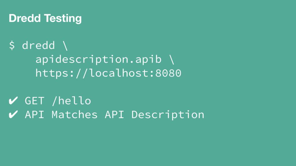 Dredd Testing $ dredd \ apidescription.apib \ h...