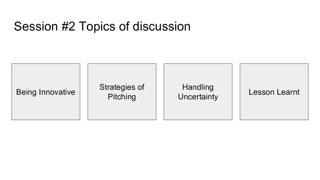 Session #2 Topics of discussion Being Innovativ...