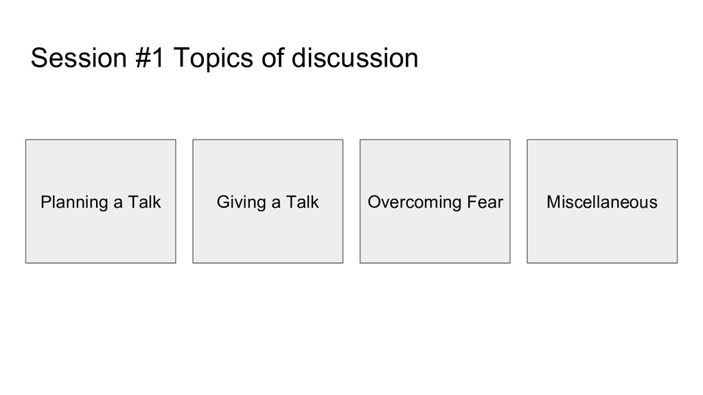 Session #1 Topics of discussion Planning a Talk...