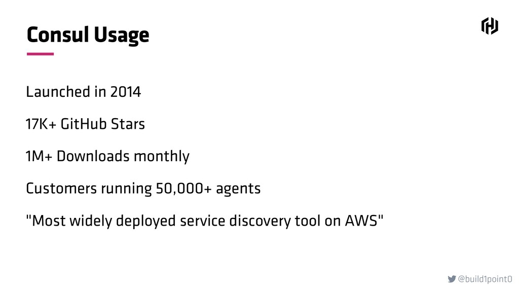 @build1point0  Consul Usage Launched in 2014 1...