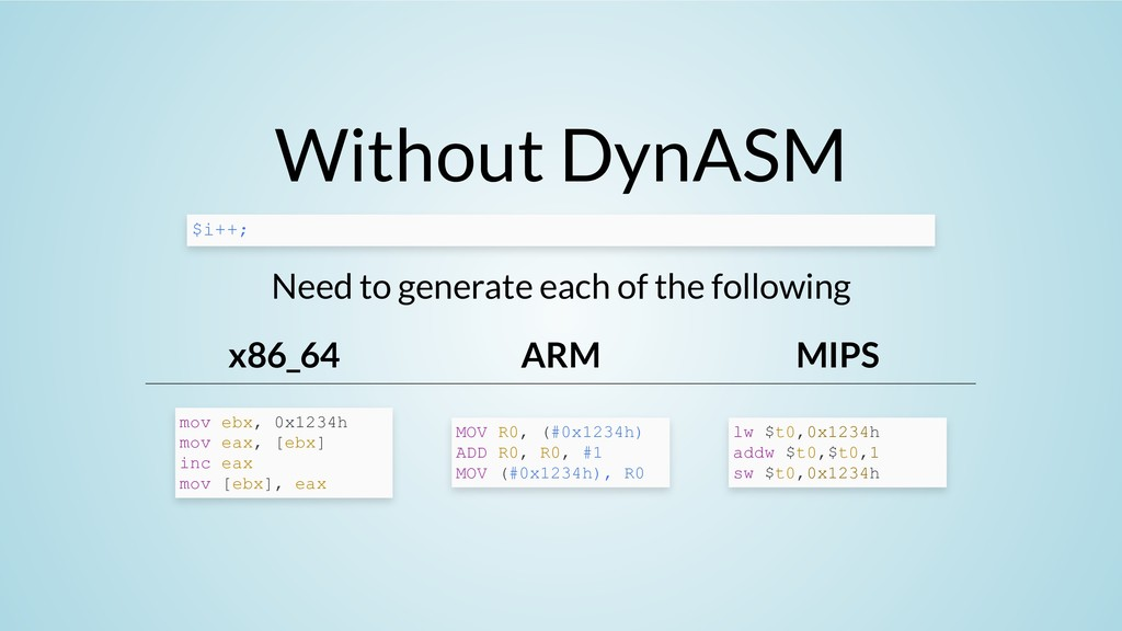 Without DynASM Need to generate each of the fol...