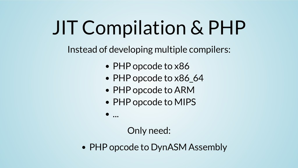 JIT Compilation & PHP Instead of developing mul...