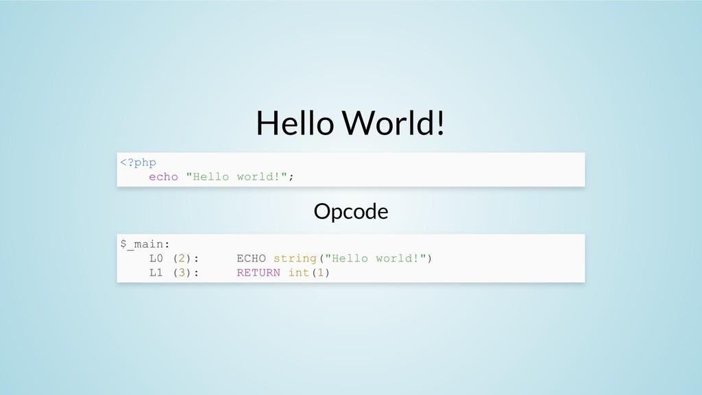 """Hello World! Opcode <?php echo """"Hello world!""""; ..."""