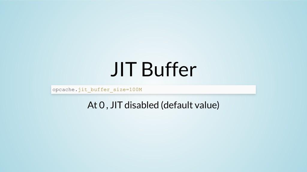 JIT Buffer At 0 , JIT disabled (default value) ...