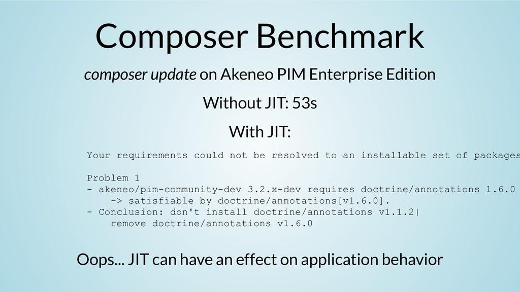 Composer Benchmark composer update on Akeneo PI...