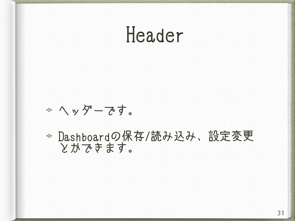 Header ヘッダーです。 Dashboardの保存/読み込み、設定変更 とかできます。 31