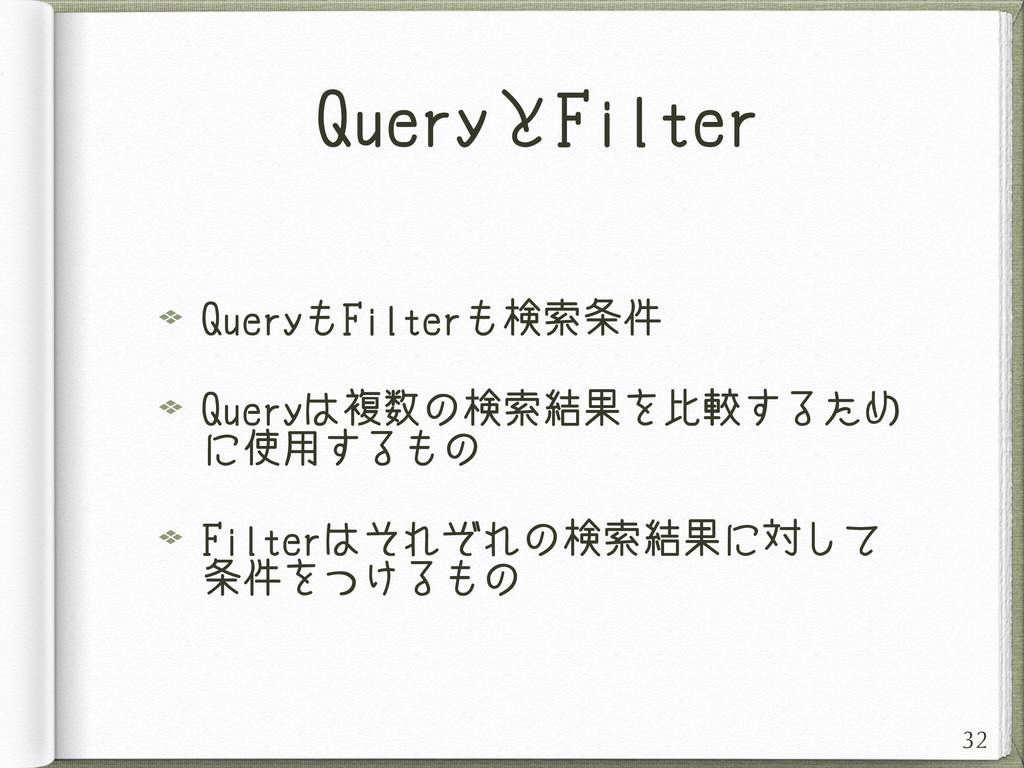 QueryとFilter QueryもFilterも検索条件 Queryは複数の検索結果を比較...