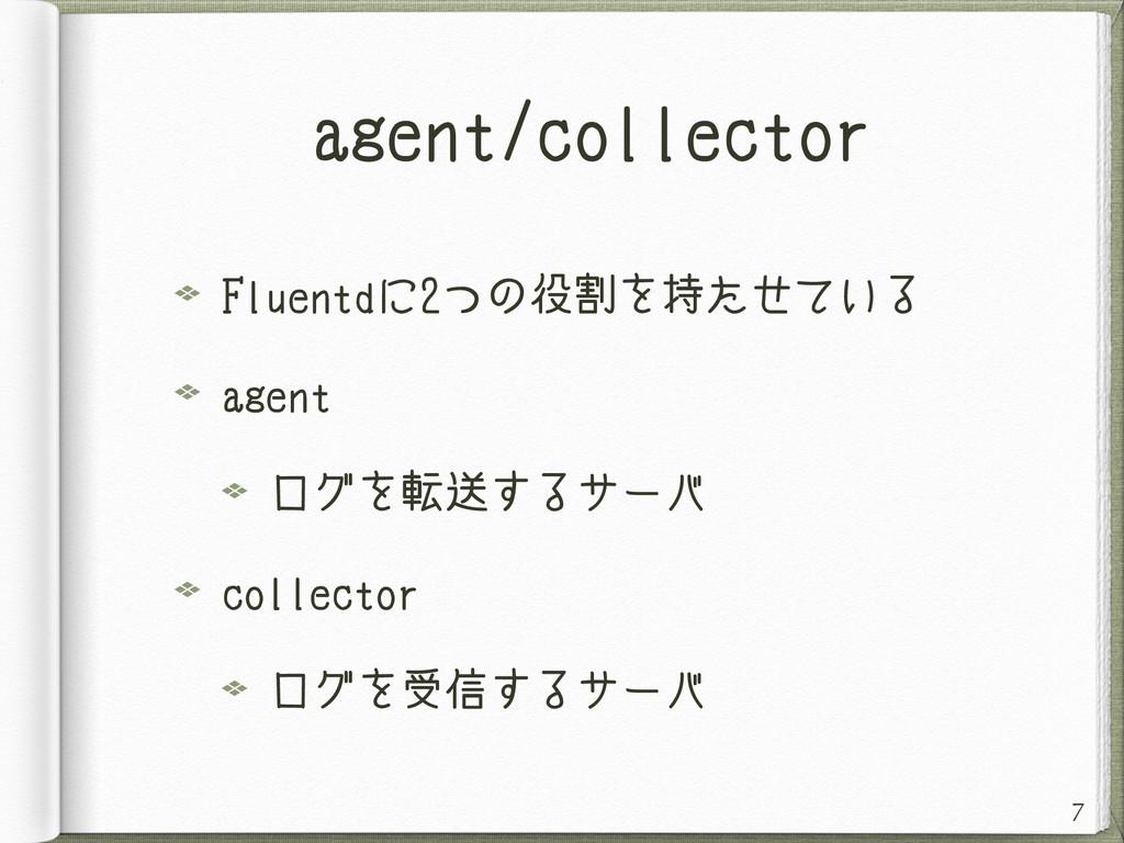 agent/collector Fluentdに2つの役割を持たせている agent ログを転...