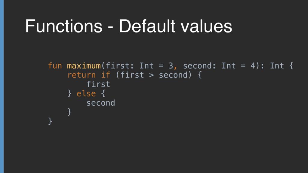 Functions - Default values fun maximum(first: I...