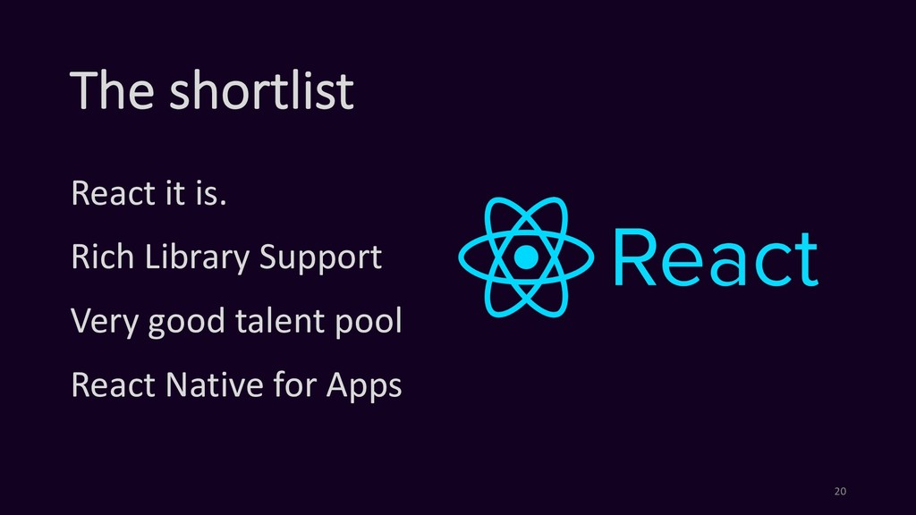 The shortlist React it is. Rich Library Support...