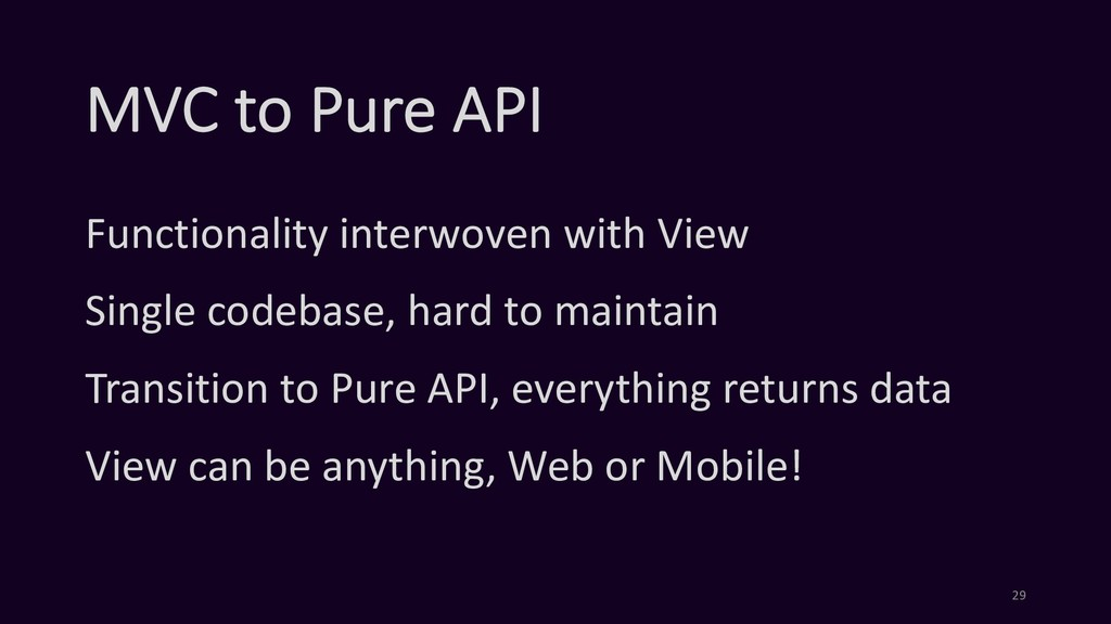 MVC to Pure API Functionality interwoven with V...