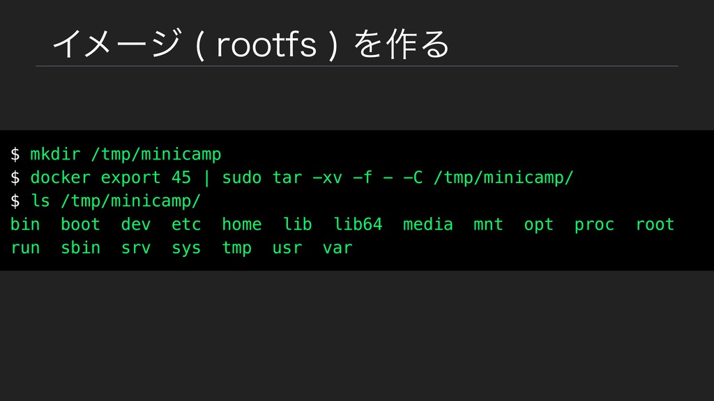 Πϝʔδ SPPUGT Λ࡞Δ $ mkdir /tmp/minicamp $ doc...