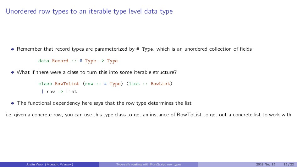 Unordered row types to an iterable type level d...