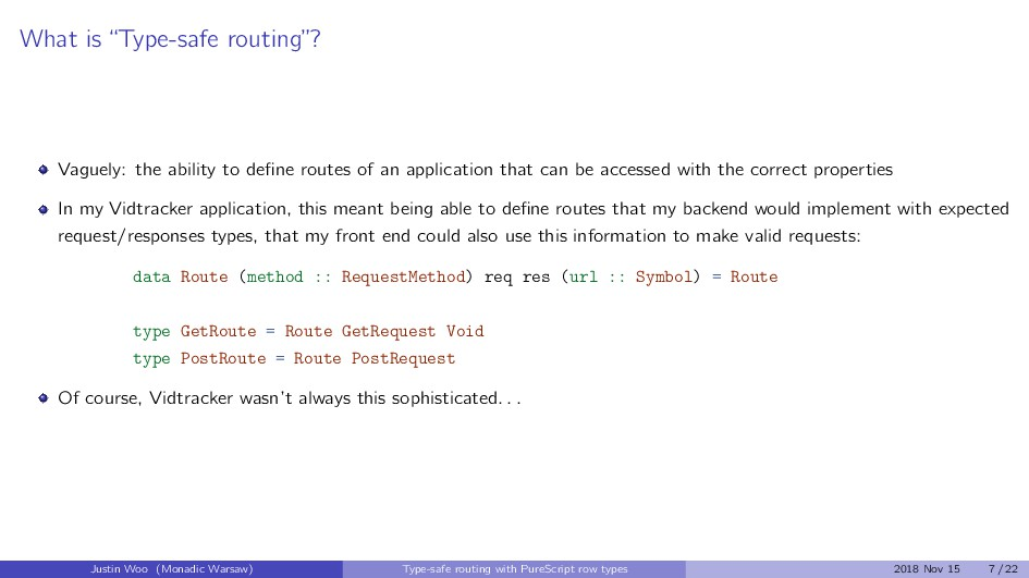 """What is """"Type-safe routing""""? Vaguely: the abili..."""