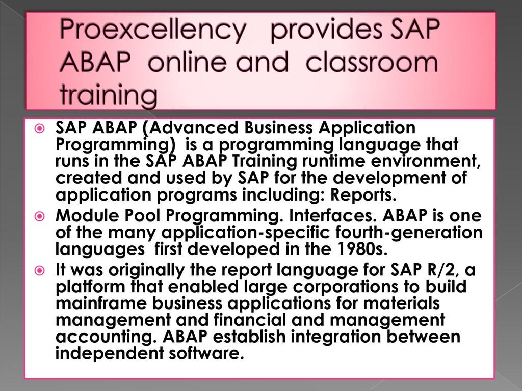  SAP ABAP (Advanced Business Application Progr...