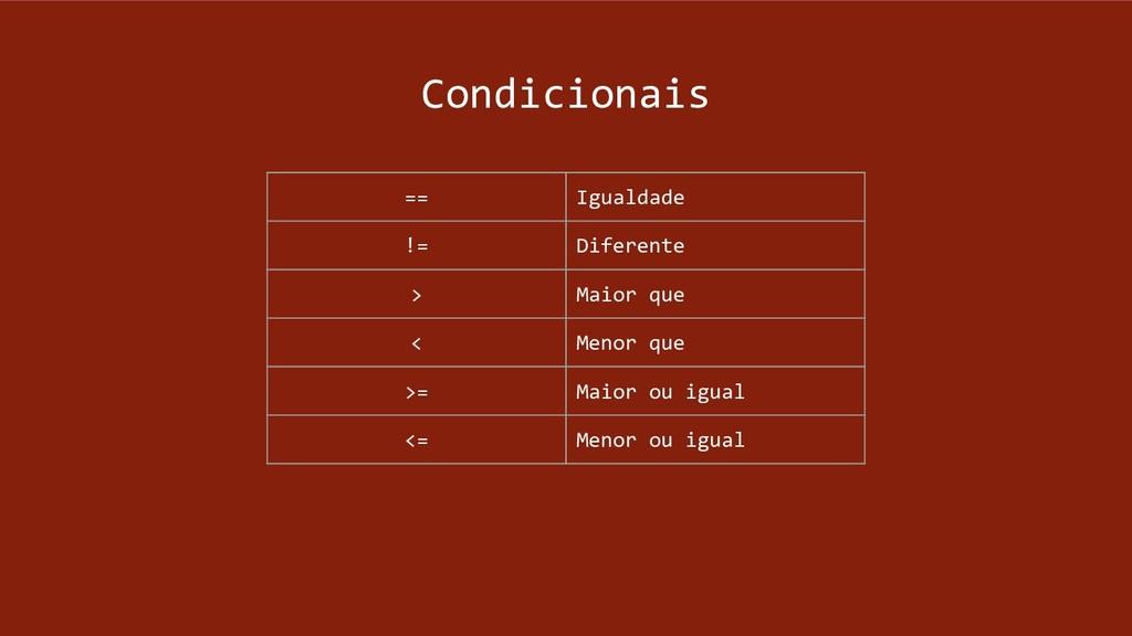 Condicionais == Igualdade != Diferente > Maior ...