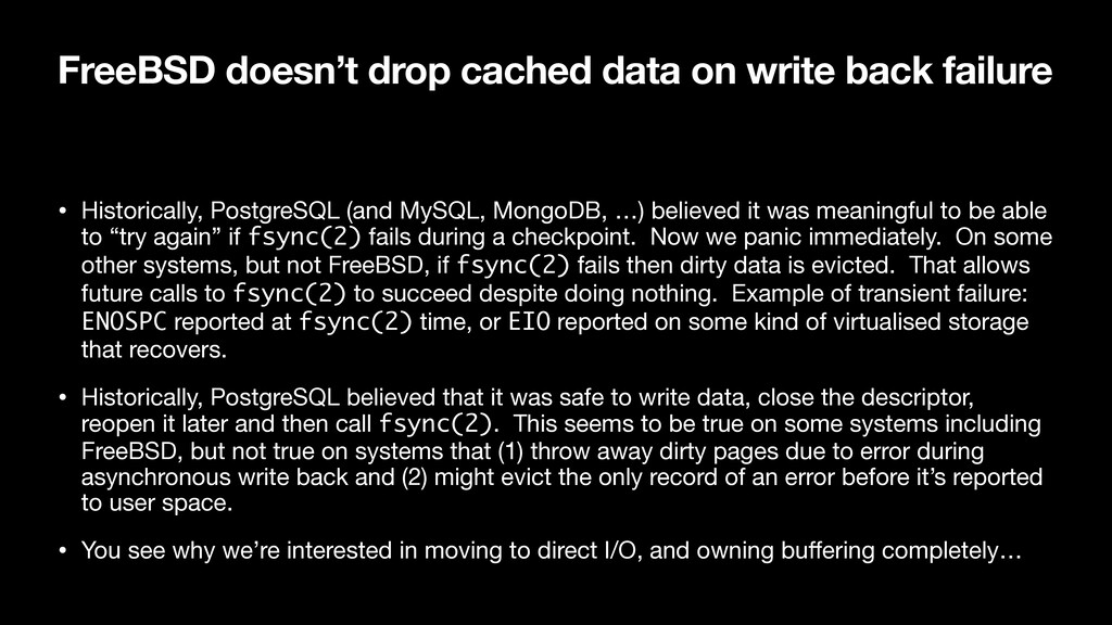 FreeBSD doesn't drop cached data on write back ...