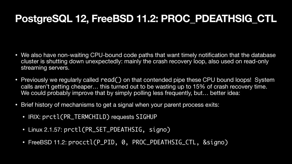 PostgreSQL 12, FreeBSD 11.2: PROC_PDEATHSIG_CTL...