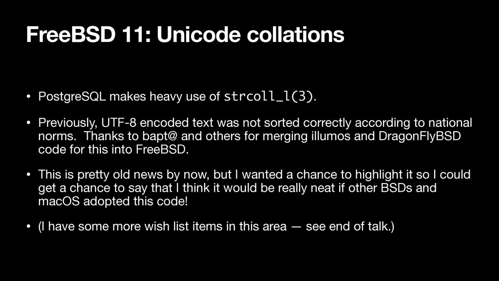 FreeBSD 11: Unicode collations • PostgreSQL mak...