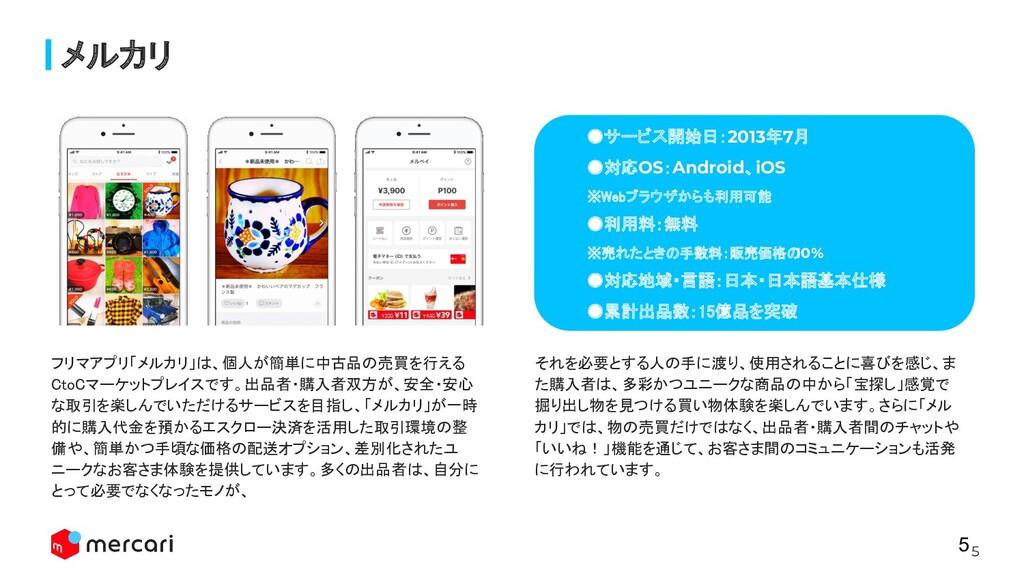 5 メルカリ ●サービス開始日:2013年7月 ●対応OS:Android、iOS ※We...