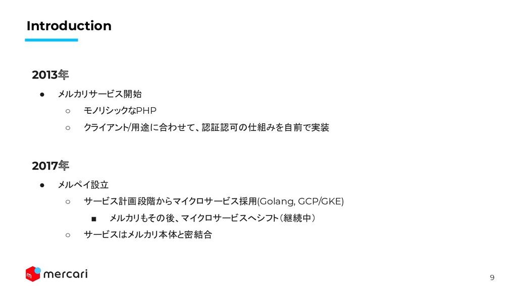9 Introduction 2013年 ● メルカリサービス開始 ○ モノリシックなPHP ...