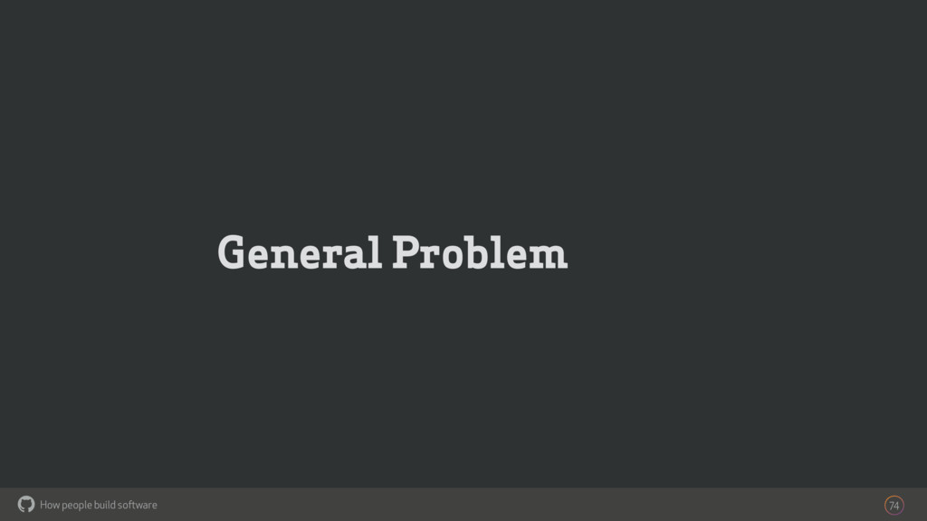 How people build software ! General Problem 74