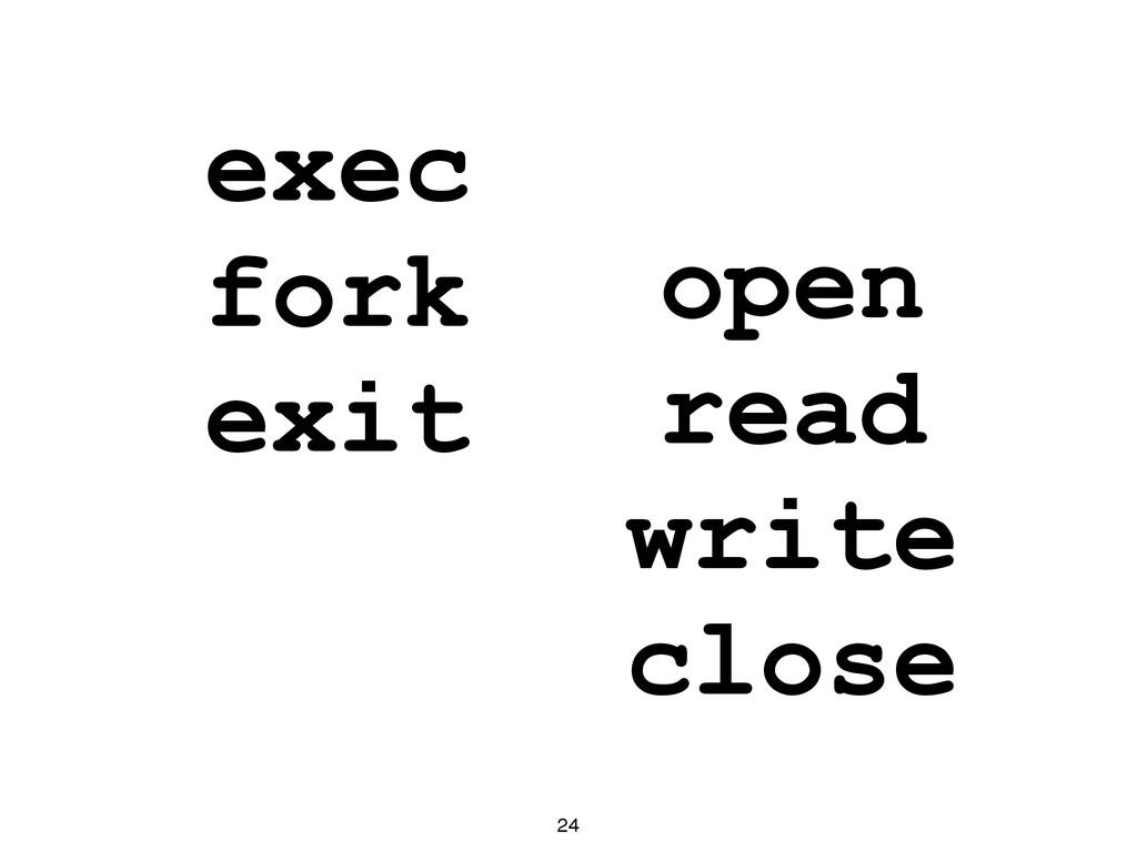 exec fork exit 24 open read write close