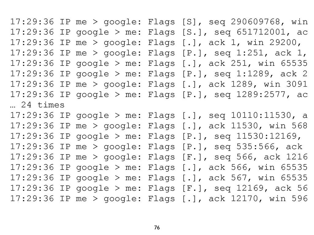 76 17:29:36 IP me > google: Flags [S], seq 2906...