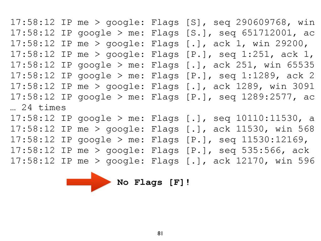 81 17:58:12 IP me > google: Flags [S], seq 2906...