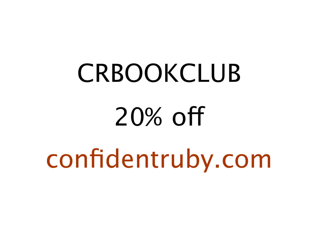 CRBOOKCLUB 20% off confidentruby.com