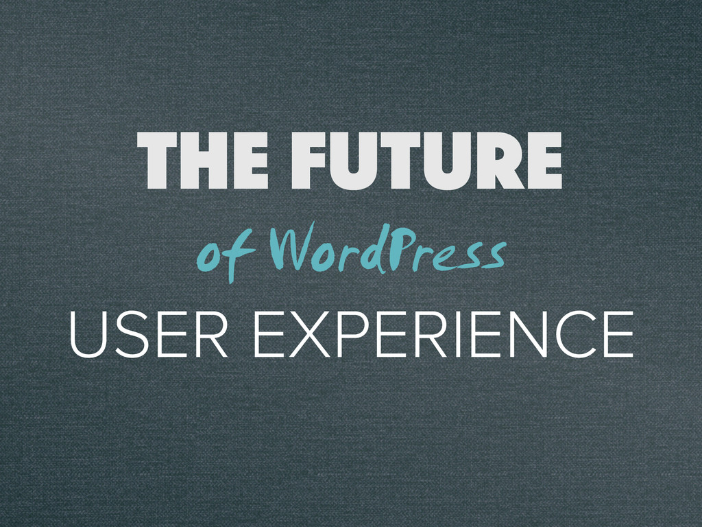 THE FUTURE USER EXPERIENCE of WordPress