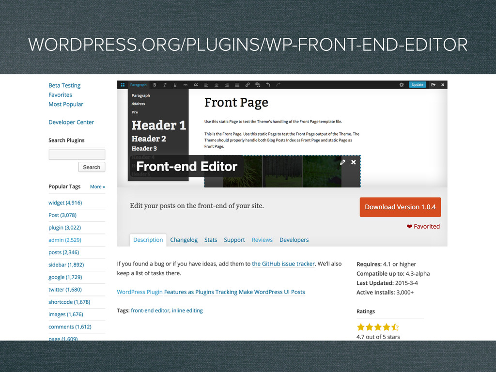 WORDPRESS.ORG/PLUGINS/WP-FRONT-END-EDITOR
