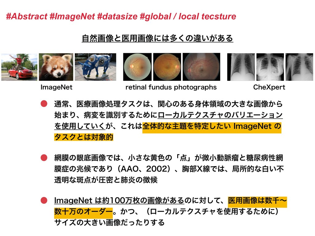 #Abstract #ImageNet #datasize #global / local t...