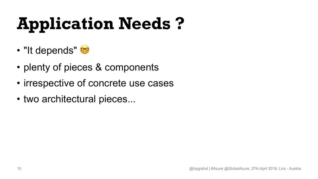 "Application Needs ? • ""It depends"" ! • plenty o..."