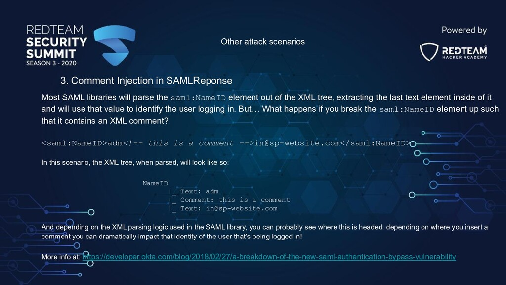 Other attack scenarios 3. Comment Injection in ...