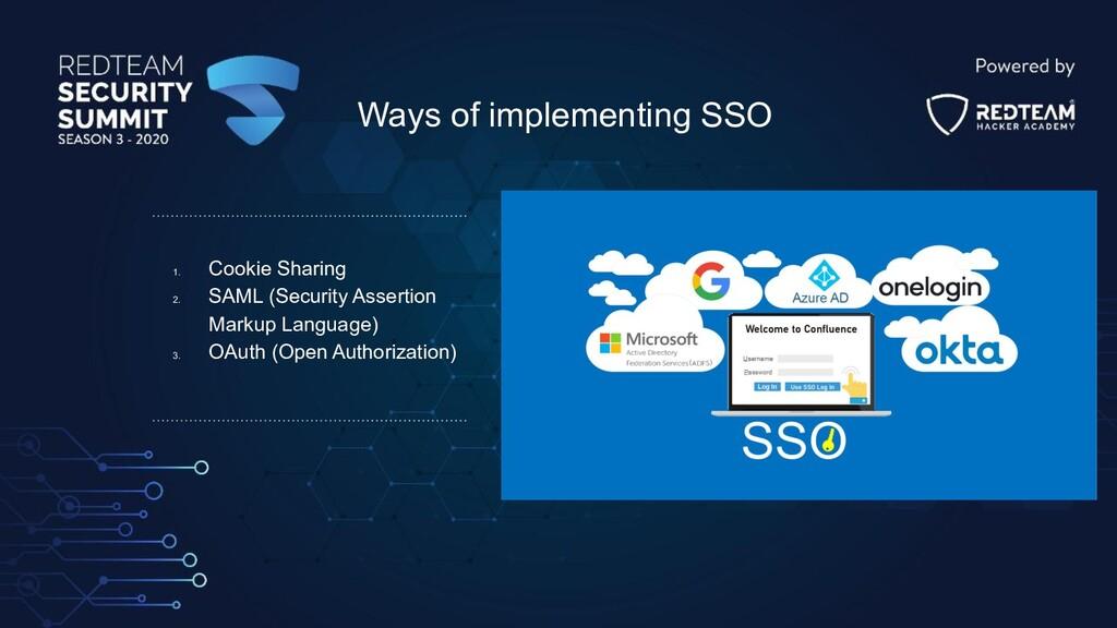 1. Cookie Sharing 2. SAML (Security Assertion M...