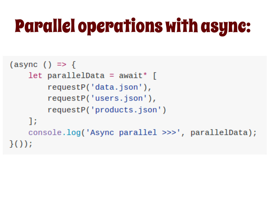 Parallel operations with async: