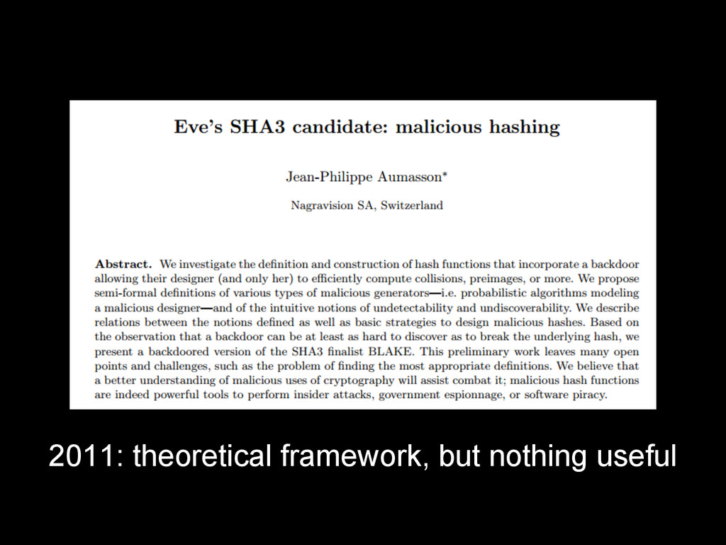 2011: theoretical framework, but nothing useful