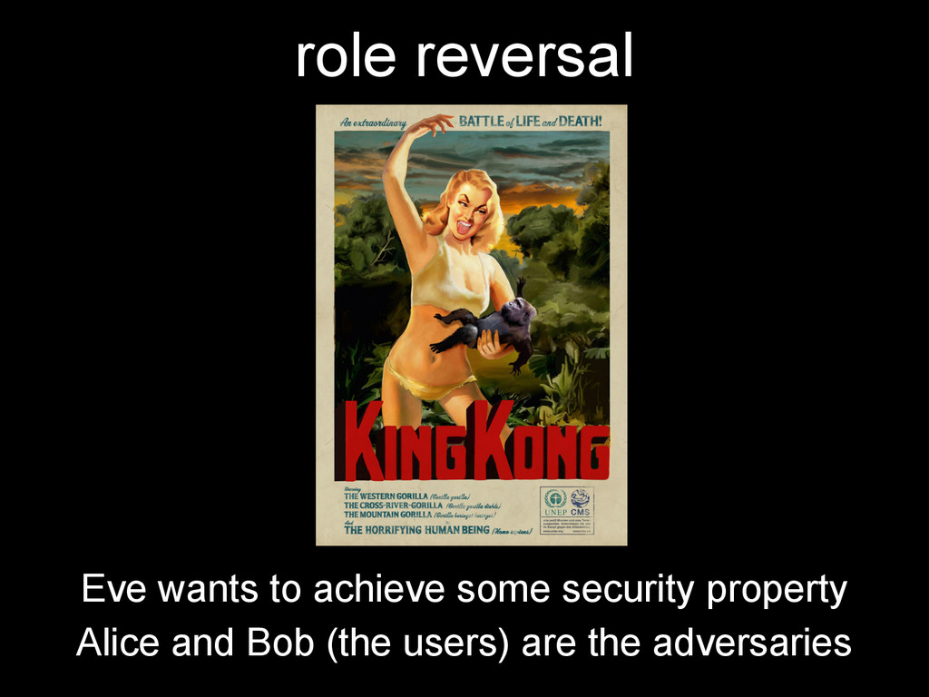 role reversal Eve wants to achieve some securit...