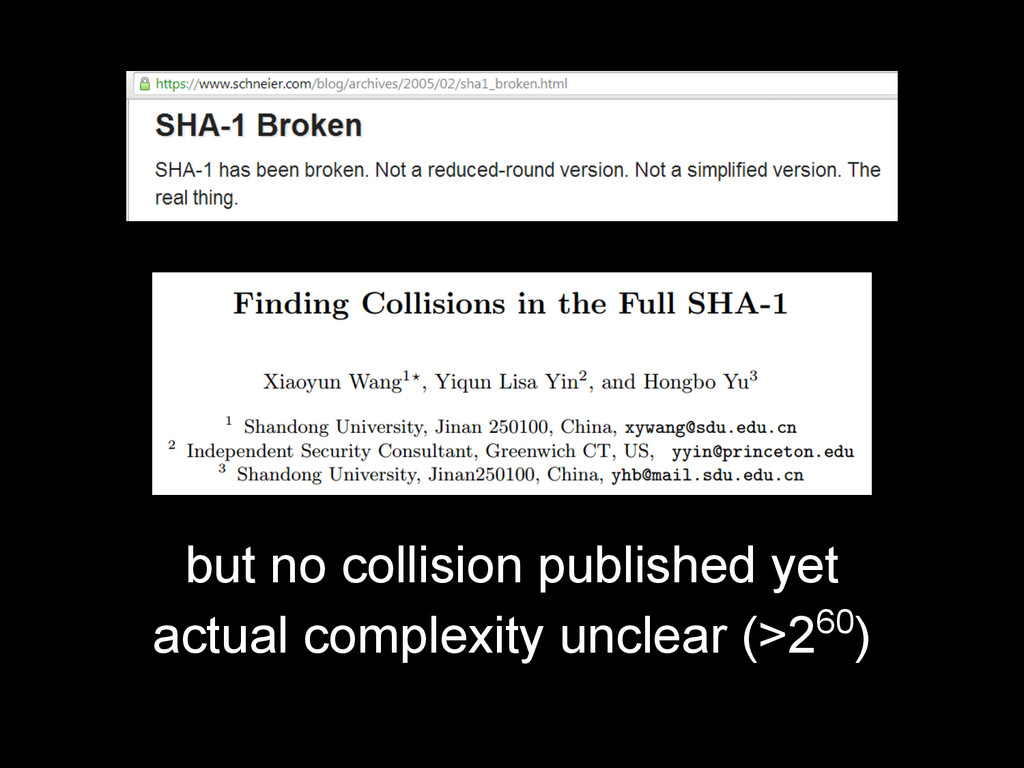 but no collision published yet actual complexit...
