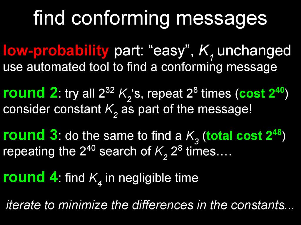 find conforming messages low-probability part: ...