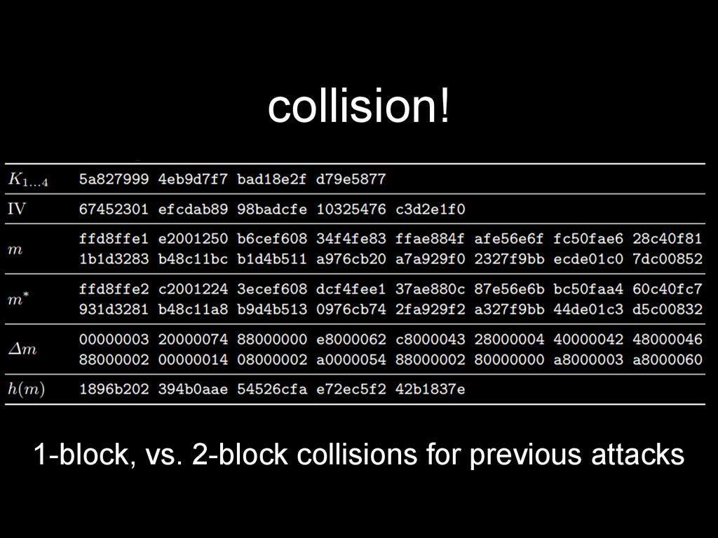 collision! 1-block, vs. 2-block collisions for ...