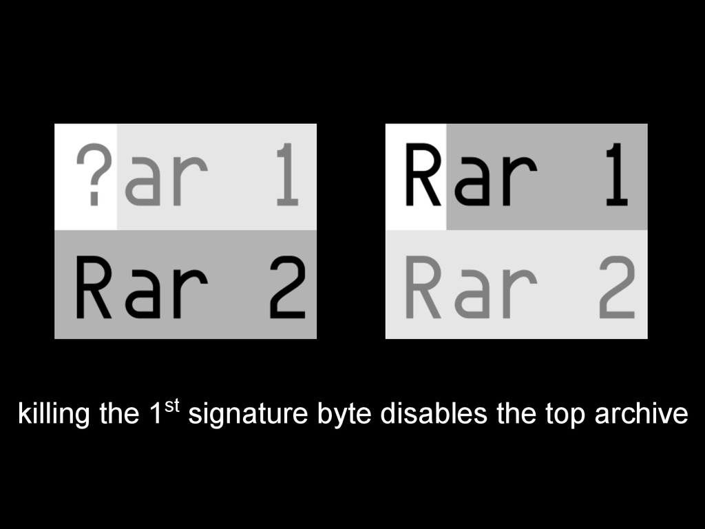 killing the 1st signature byte disables the top...