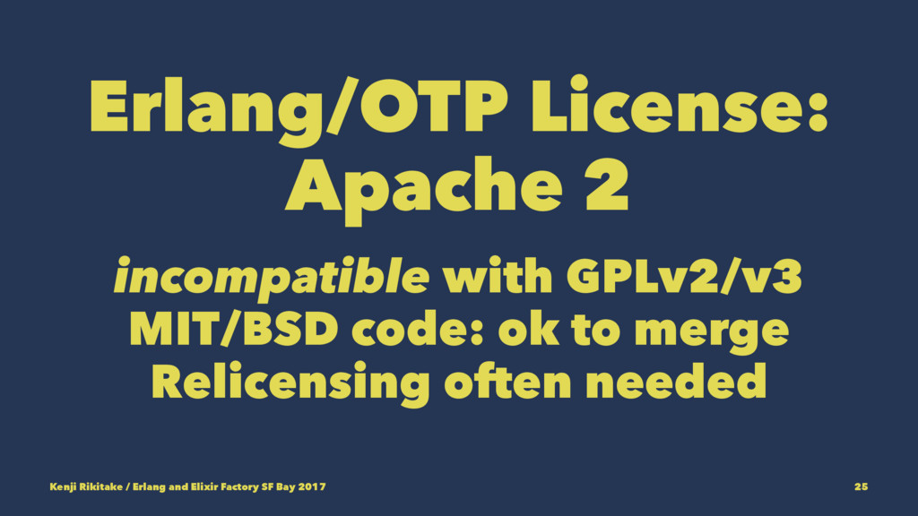 Erlang/OTP License: Apache 2 incompatible with ...