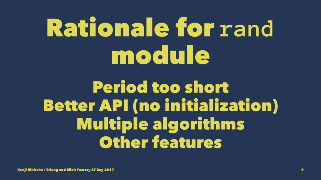 Rationale for rand module Period too short Bett...