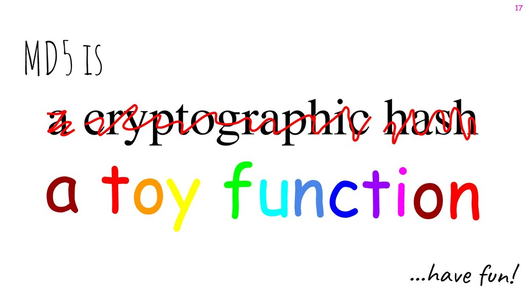 a cryptographic hash a toy function MD5 is ...h...